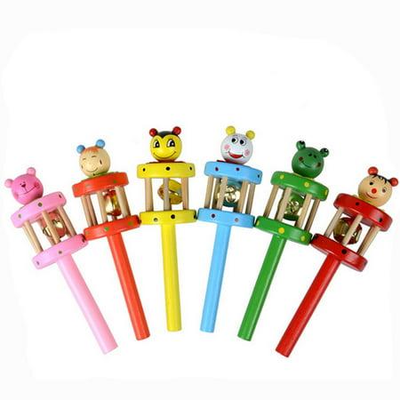 Wooden Musical Instruments Babies - Baby Toy Cartoon Animal Wooden Handbell Musical Developmental Instrument