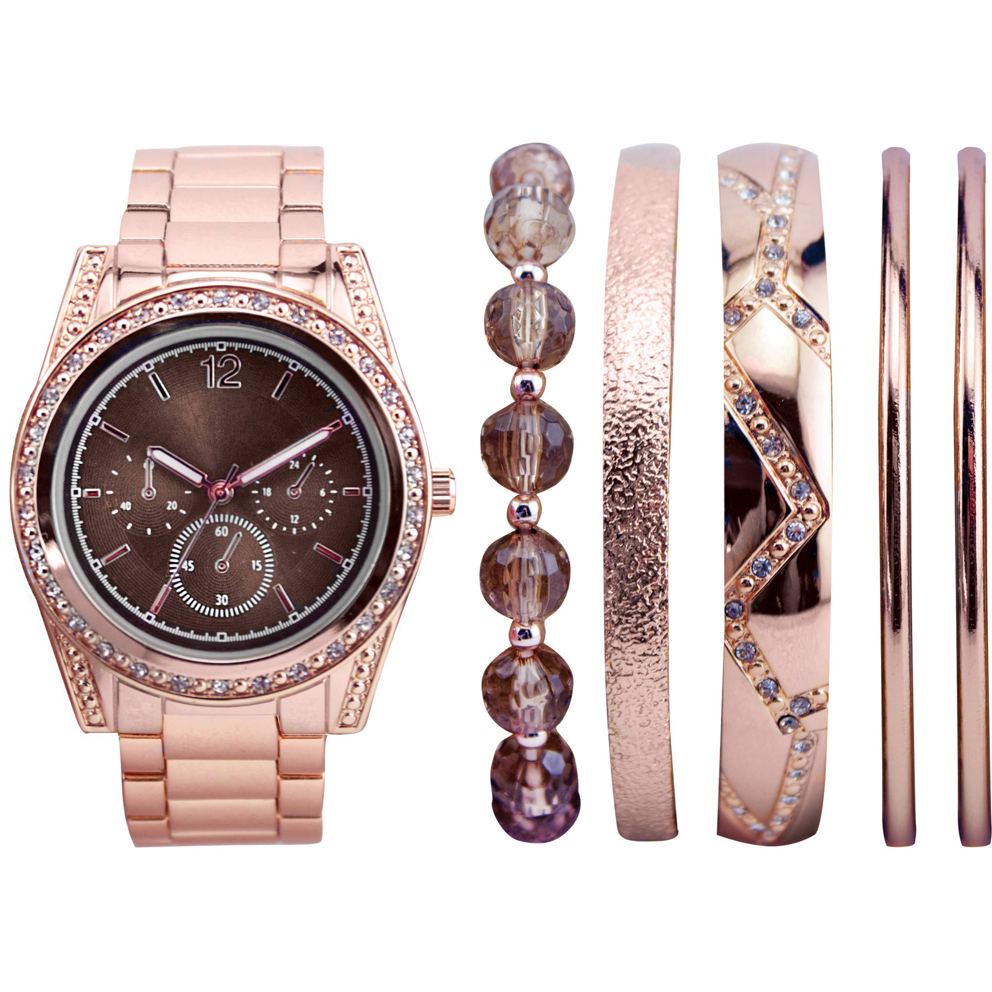 Women's Stackable Rose Gold Watch Set with 5 Assorted Bracelets