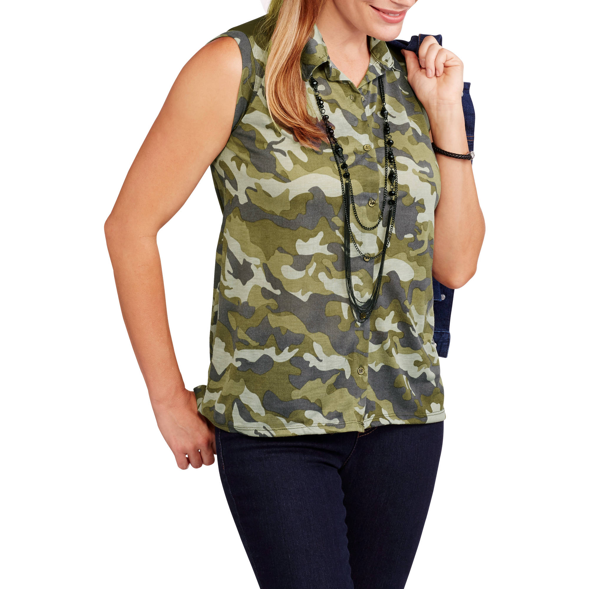 Women's Soft Knit Camo Sleeveless Button-Front Top