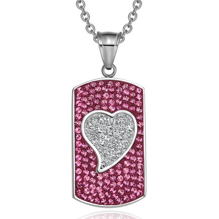 - Magic Heart Austrian Crystals Amulet Love Energy Fuscia Pink and White Dog Tag Pendant 18 Inch Necklace