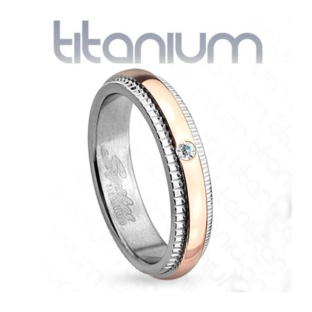 4mm Grooved Step Edge Solitaire CZ Rose Gold IP Titanium Women's Ring Wedding Band (SIZE: (Rose Titanium)