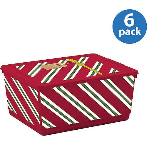 Urbin Medium Holiday Storage Container, Diagonal Stripe, Set of 6