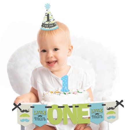 Dashing Little Man Mustache Party 1st Birthday - First Birthday Boy Smash Cake Decorating Kit - High Chair - Little Boys Birthday