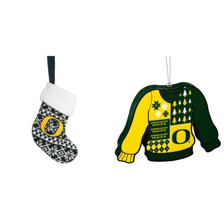 NCAA Oregon Ducks ORNAMENT STOCKING KNIT Foam Ugly Sweater Christmas Ornament Bundle 2 Pack By Forever Collectibles