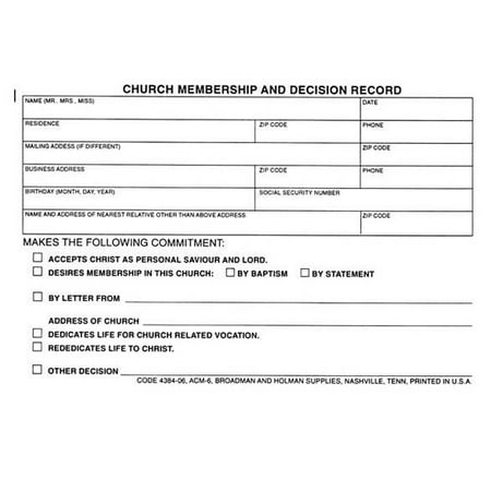 Form church membership and decision record form acm 6 pack of 100 form church membership and decision record form acm 6 pack of thecheapjerseys Choice Image