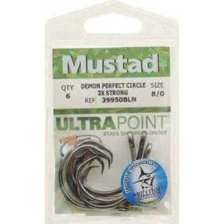 Mustad UltraPoint Demon Perfect In-Line Circle 3 Extra Strong Hook (Pack of 5) Multi-Colored