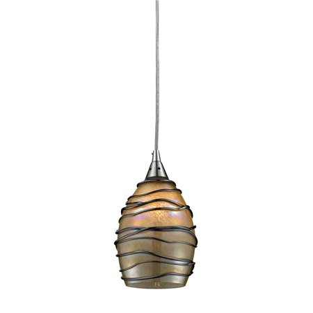 Elk Lighting Vines Pendant in Satin Nickel and Tan (Elk Lighting Nickel Pan)