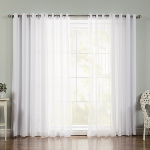 White Sheer 52 x 96 In. Window Treatments, Set of Four by