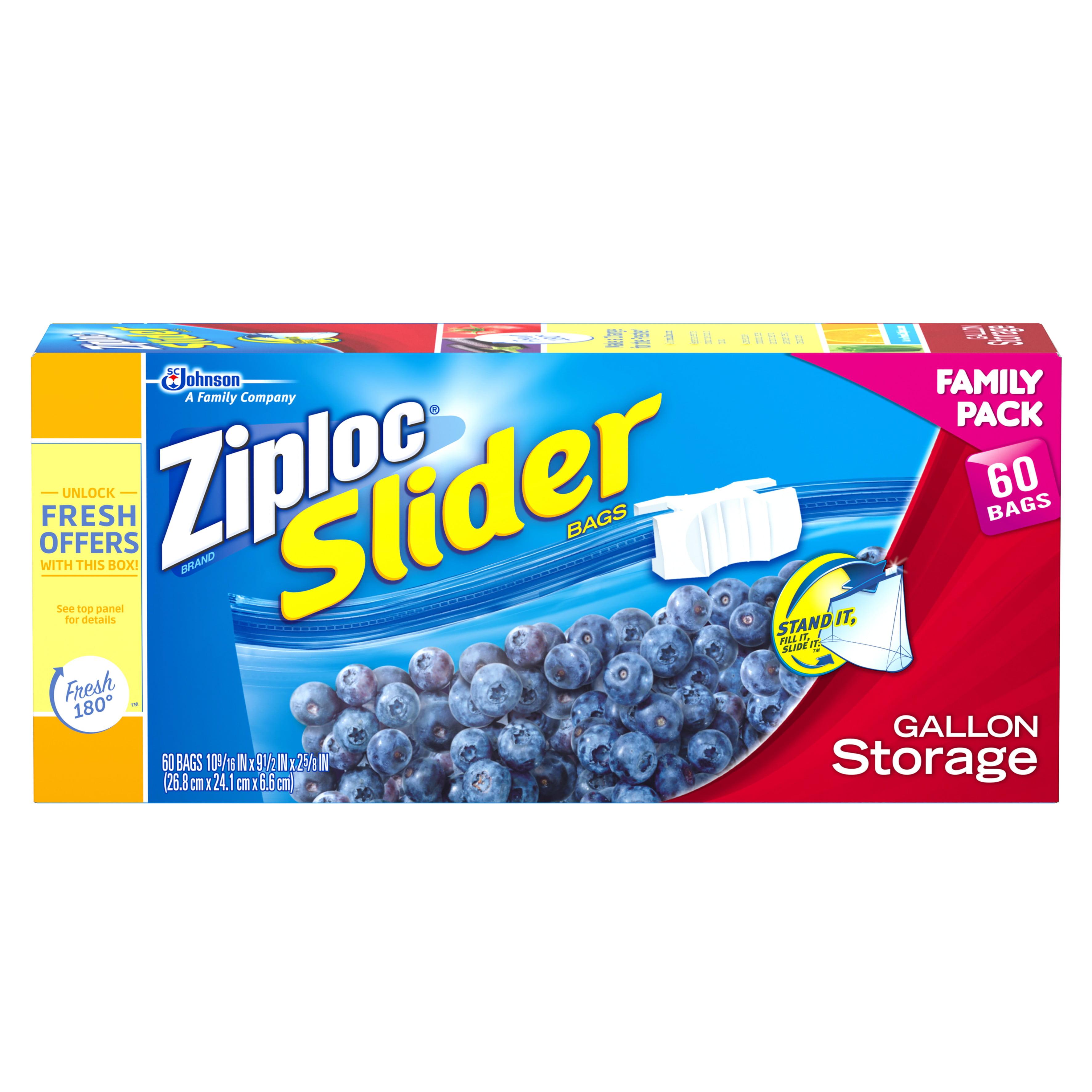 Ziploc Slider Storage Gallon Family Pack 60 Count