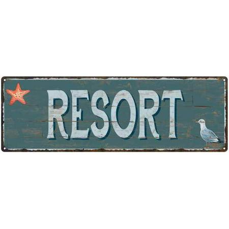 Resort Beach Style Wood Look Sign Gift Green 6x18 Metal Decor 206180086068