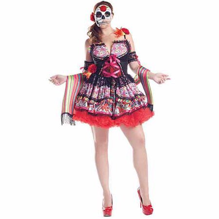 Day Of The Dead Plus Size Adult Halloween Costume (Halloween Dead Fairy Makeup)