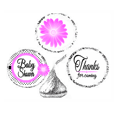Silver Baby Shower Decorations (216ct Pink Baby Shower Party Favor Hersheys Kisses Candy Decoration Stickers /)