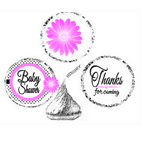216ct Pink Baby Shower Party Favor Hersheys Kisses Candy Decoration Stickers / Labels