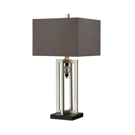Table Lamps 1 Light With Silver Leaf and Black Steel Medium Base 30 inch 9.5 Watts