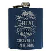 Susanville California Laser Engraved Explore the Outdoors Souvenir 7 oz Stainless Steel 7 oz Flask Navy