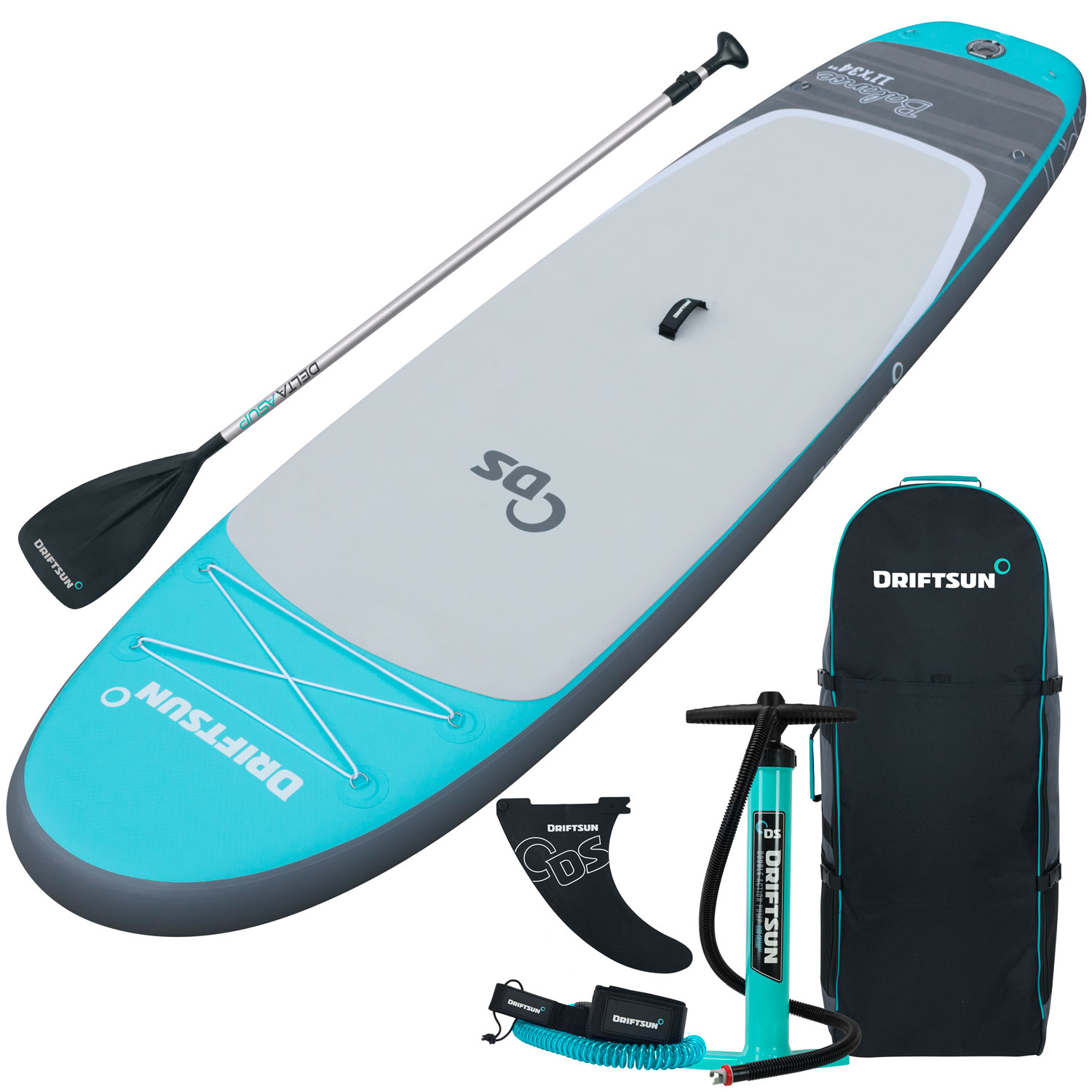 "Driftsun Balance 11' Yoga SUP Inflatable Stand Up Paddle Board | Complete Package with Travel Backpack, Adjustable Paddle, Coil Leash - 11' Feet x 34"" Inch"