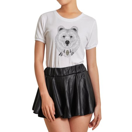 Sketch Of A Bear's Face Printed 100% Cotton Short Sleeves T- Shirt WTS_07 S
