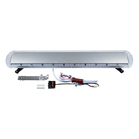 "51"" White Amber 96-LED Rooftop Car Tow Truck Emergency Warning Beacon Plow Safety Strobe Light Bar Kit"