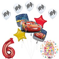 Cars 3 Lighting McQueen 6th Birthday Party Supplies and Balloon Decorations