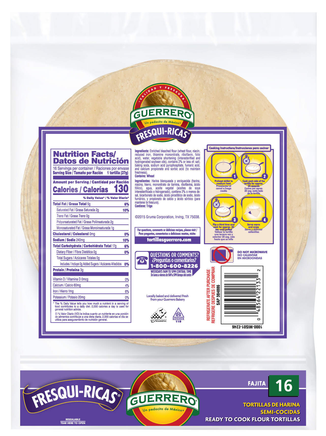 Guerrero Fresqui Ricas Ready To Cook Fajita Flour Tortillas 16 Count Walmart Com Walmart Com