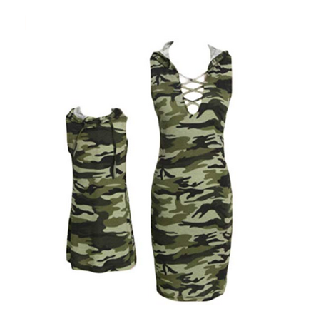 Mother Daughter Camouflage Hoodies Dress Summer Family Clothes Women Girls (Mom Dresses Son As Girl For Halloween)