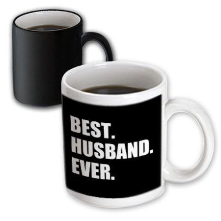 3dRose Best Husband Ever black white text anniversary valentines day for him, Magic Transforming Mug,