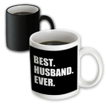 3dRose Best Husband Ever black white text anniversary valentines day for him, Magic Transforming Mug,