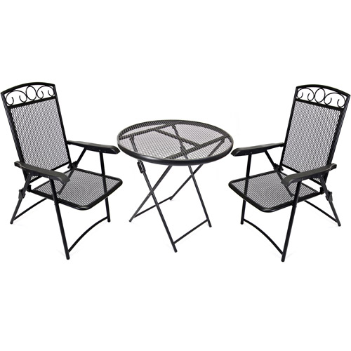 Jordan Manufacturing Wrought Iron Folding 3-Piece Outdoor Bistro Set, Black