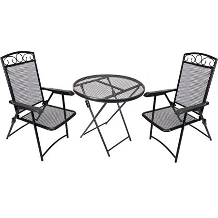 Jordan manufacturing wrought iron folding 3 piece outdoor for Wrought iron cafe chairs