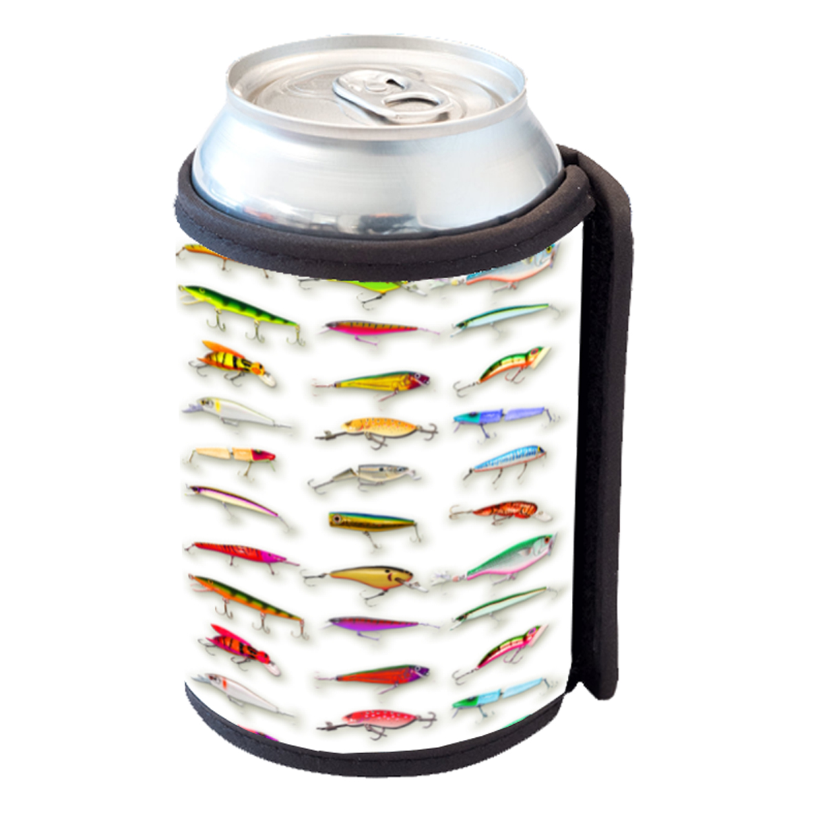 KuzmarK Insulated Drink Can Cooler Hugger - Many Fishing Lure Lures