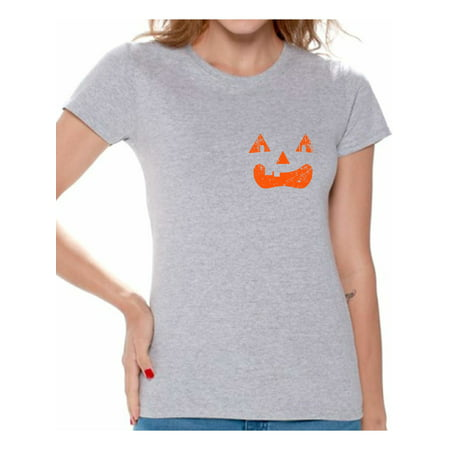 Awkward Styles Jack-O'-Lantern Tshirt Women's Halloween Shirt Spooky Gifts for Halloween Jack-O'-Lantern Pumpkin T-Shirt Scary Halloween Outfit Halloween Pumpkin T-Shirt Halloween Shirts for Women - Spooky Outfits