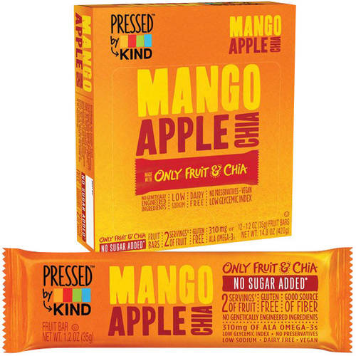 *****DISCONTINUED****Pressed by Kind Mango Apple Chia Fruit Bar, 1.2 oz, (Pack of 12)