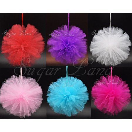 (20 Pack) Tulle Pom Flowers Balls Wedding Party Decorations Outdoor Decor Fabric Quinceanera](Quinceanera Decorations Supplies)