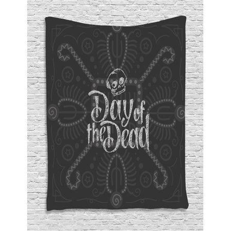 Day of the Dead Tapestry, Dia de Los Muertos Theme Hand Lettered Text with Skull Sketch Aztec Style, Wall Hanging for Bedroom Living Room Dorm Decor, 40W X 60L Inches, Grey Coconut, by Ambesonne - Dia De Los Muertos Theme