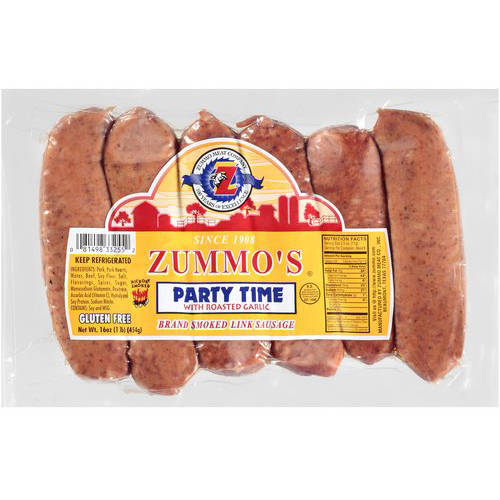 Zummo's Party Time Smoked Link Sausages with Roasted Garlic, 16 Oz., 6 Count