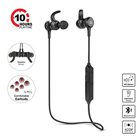 Bluetooth Headphones Gigastone Best Wireless Earphones HD Stereo 10 Hour Playtime Noise Cancelling Headsets with Mic