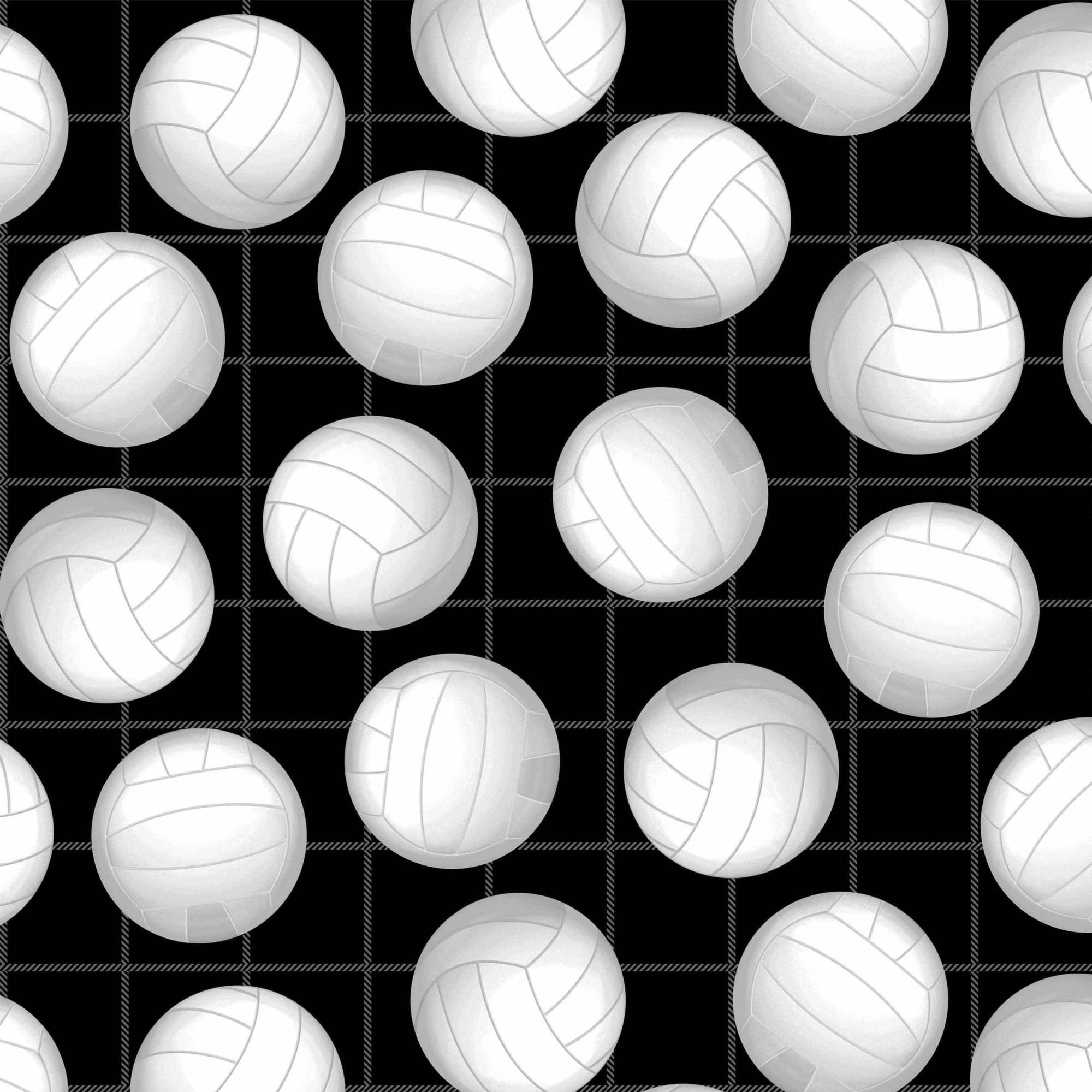 "Volleyballs On Black Anti-Pill Polyester Fleece By The Yard 60"" Wide"