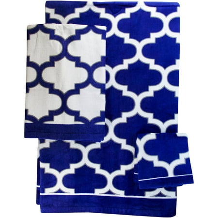 Mainstays Fretwork Navy & White Towel, 1 Each