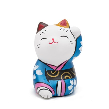 THY COLLECTIBLES Hand Painted Feng Shui Mini Maneki Neko Lucky Cat Blue