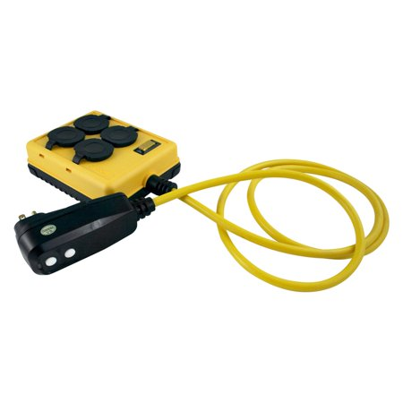 - Yellow Jacket 2516 14/3 GFCI Protected 4-Outlet Power-Box with 6' Cord Yellow, 14/3-Gauge