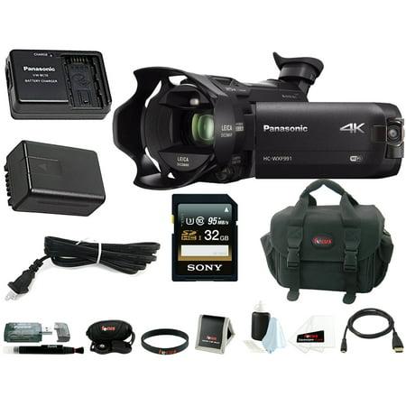 Panasonic HC-WXF991K 4K Ultra HD Camcorder w/ Power Pack (VW-PWPK) & 32GB Bundle