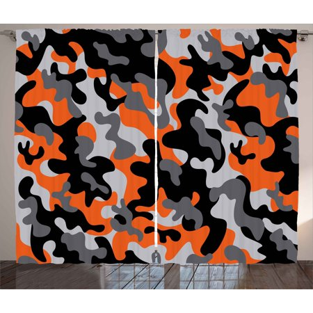 Camo Curtains 2 Panels Set, Vibrant Artistic Camouflage Lattice Like Military Service Combat Theme Modern, Window Drapes for Living Room Bedroom, 108W X 63L Inches, Orange Grey Black, by - Camouflage Theme