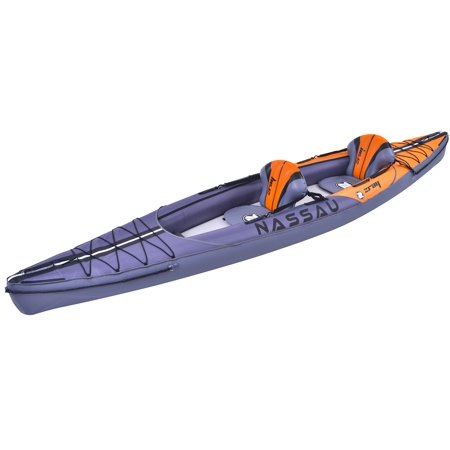 13.25' Gray and Blue Inflatable Zray Nassau 2-Person Kayak Set with Paddles and Hand (Paddle In Hand)