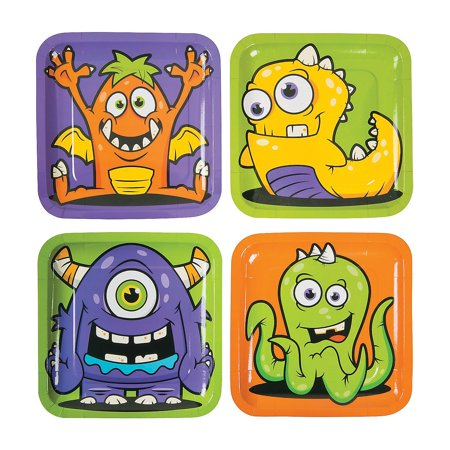 Fun Express - Monster Party Dinner Plates for Halloween - Party Supplies - Print Tableware - Print Plates & Bowls - Halloween - 8 - Family Fun Halloween Dinner