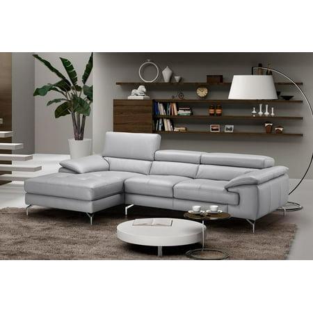 Modern Grey Premium Italian Leather Sectional Sofa Left Hand Chaise J&M Liam