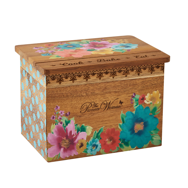 Pioneer Woman Acacia Recipe Box Walmart Com Walmart Com