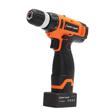 Electric Cordless Drill Hammer Drill Screwdriver 24V Rechargeable Lithium-Ion 0-1450R/MIN With Case