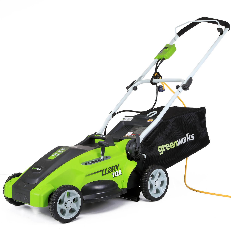 "Greenworks 120V 16"" Electric Lawn Mower, Green"