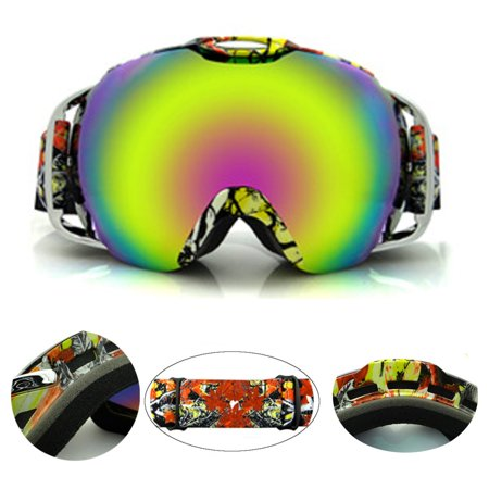 Windproof Ski, Snowboard, and Snowmobile Goggles, Anti Fog Double Lens All Mountain UV Protection Double-layer anti-fog plating Snowboard Snowmobile Goggles For Men and (Best Budget All Mountain Snowboard)