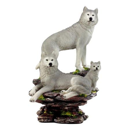 Ebros Large Denizens Of Twilight Timber Wolf Family Statue 14.25